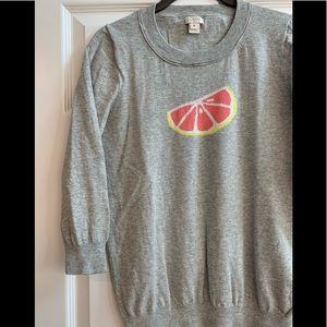 J Crew Fruit Citrus Grapefruit Grey 3/4 Sweater M
